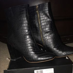 Misguided black heeled croc ankle boots brand new